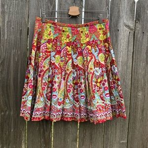 Bandolino Sz 12 Bright Floral Print Pleated Skirt